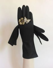 1950s Cotton Mix Outer Stitched Black Vintage Evening Gloves Size 6.5
