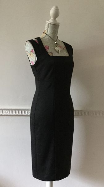 Betty Jackson Cross Over Back Grey Marl Knee Length Slim Fit Pencil Dress Size UK 12.