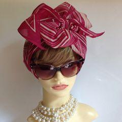 "Burgundy Oxblood & Ivory Stripe Patterned 66 x 6"" 1980s Polyester Neck Scarf Head Tie Head Wrap With Stitched Hem"