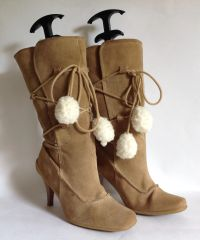 "New Look Buff Suede Faux Shearling Lined 4.25"" Heel 3/4 Winter Boot Size UK 4 EU 37"