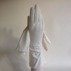 Vintage 1950s Gloves Nylon Ivory Gathered Evening Wedding Church Size 7