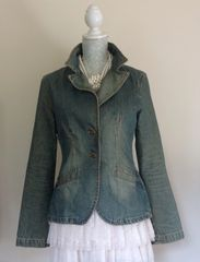 ZARA TRF Denim Dirty Wash Effect Denim Jacket Size L - UK 10/12