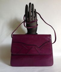 Rayne 1980s Vintage Purple Leather Shoulder Bag Clutch Bag With Detachable Strap