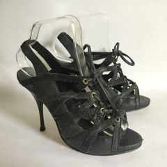 ALDO Charcoal Suede Strappy Hidden Platform Stiletto Heel Sandal Shoe
