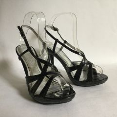 Spot On Black Faux Patent Strappy Platform Stiletto Heel Sandal Shoe Size UK 4 EU 37