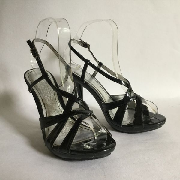 Spot On Black Faux Patent Strappy Platform Stiletto Heel Sandal Shoe Size UK 4 EU 37