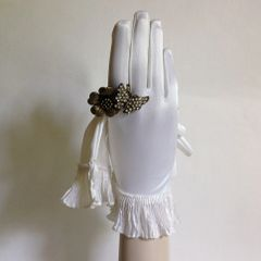 Vintage 1960s Nylon White Gloves Frilled Cuff Wedding Bridal Evening Size 6.5