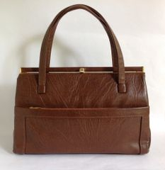 Weymouth American Mid Brown Faux Leather Fabric Lined 1960s Vintage Handbag