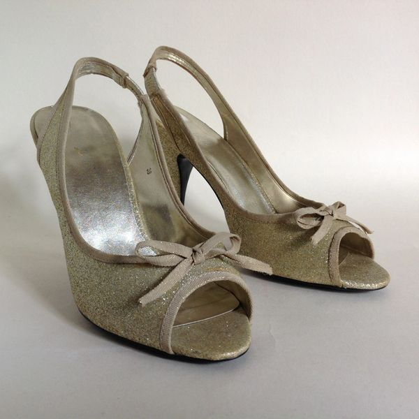 Atticus 1950s Style Gold Glitter Slingback Peeptoe Bow Fronted Shoe Size UK 5 EU 38