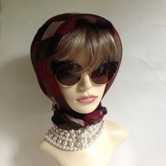 Neck Scarf Head Wrap Polyester Beige Red Olive Harlequin Pattern Overlocked Edge