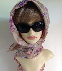 Vintage 1960s Head Scarf Coffee Pink Purple Feather Pattern 38 Inches Stitched Hem Edge
