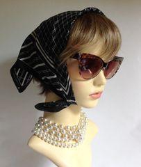"Jacqmar Vintage 1960s Head Scarf Black White Checked Lined Polyester 19"" Stitch Hem"