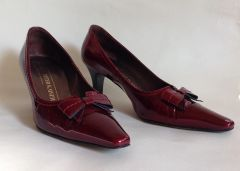 "Peter Kaiser Bow Court Shoe Cranberry Patent Leather 2.5"" Slim Heel UK 4 EU 37"