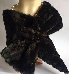 La Maison De La Fausse Fourrure Black Faux Fur Stole Scarf Neck Wrap Vintage Inspired