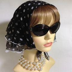 Vintage 1960s Head Scarf Black & White Spotted Polka Dot Polyester Frilled Stitched Hem