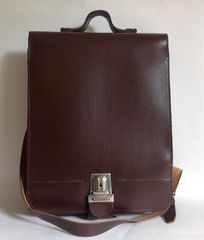 Large Brown Light Weight Faux Leather Vintage 1980s Satchel Briefcase With Leather Strap & Key