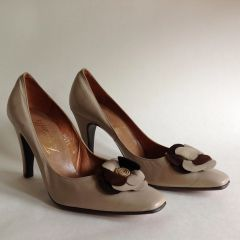 Botticelli Milk Coffee 1960s Vintage Court Shoes Size UK 3 EU 36