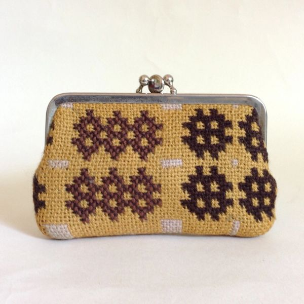 Vintage 1950s Coin Purse Mustard Tapestry Tweed Brown Suede Lining Double Sided