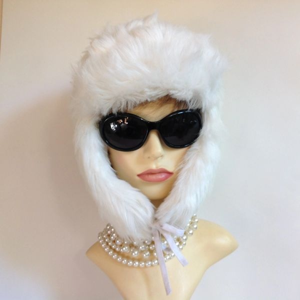 Polar Expo White Russian Style Ushanka Faux Fur Hat With Quilted Lining