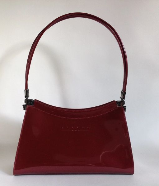 EXCESS Cranberry Synthetic Twin Handle Patent Handbag With Black Fabric Lining