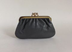 Vintage 1950s Grey Leather Double Sided Kiss Clasp Coin Purse Faux Suede Lining