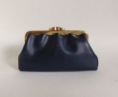 Blue Faux Leather Vintage Coin Purse With Aged Tan Suede Interior
