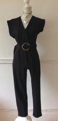 Boohoo Black Stretch Rockabilly Style Slim Leg Cap Sleeve Catsuit Size 8