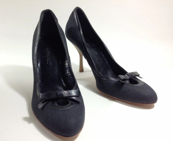 L.K. Bennett Black Fabric Covered Leather Bow Fronted Court Shoe Size UK 3 EU 36