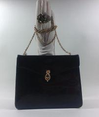 D Henry Vintage 1960s Black Patent Leather Shoulder Bag Chain Strap Suede Lining
