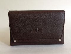 Vintage 1960s Brown Textured Leather Coin Purse Wallet With Black Leather Lining