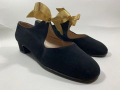 "Beltrami Firenze Black Suede Leather Ribbon Tie Mary Jane Shoe 1.25"" Block Heel UK 3.5 EU 36.5"