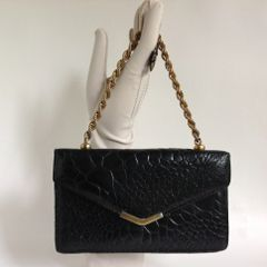 Vintage 1960s Black Turtle Leather Clutch Handbag Shoulder Bag Gold Interlinked Chain Handle