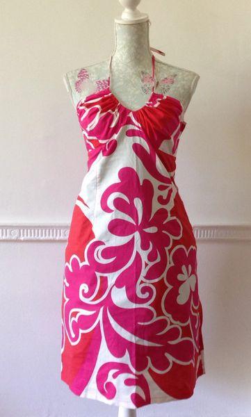 H&M Halterneck 70s Style Retro Dress Rockabilly Pink Red White Pattern Size 10