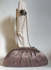 Coast Vintage Style Taupe Brocade Small Evening Clutch Handbag With Chain Strap