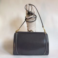 Holmes Of Norwich Vintage Grey 1970s Leather Clutch Shoulder Bag Black Fabric Lining