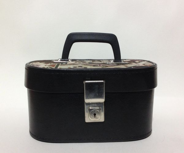 Hillmar Vintage 1960s Small Vanity Make Up Case Faux LeatherWith Aztec Fabric Top