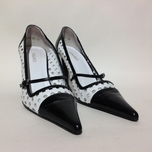 "Kaliko Black & White Perforated Vintage Style Leather Mary Jane 3.5"" Stiletto Shoes Size UK 5 EU 38"