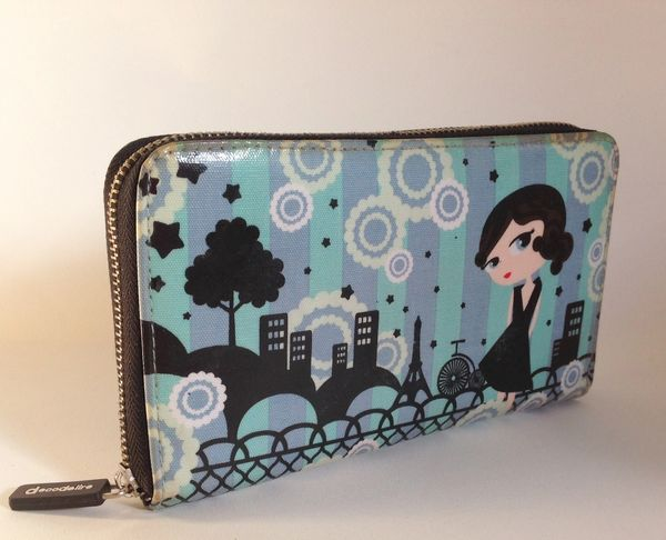 Lola Glamour by Decodelire Large Well Loved Turquoise Synthetic Zip Around Coin Purse Wallet