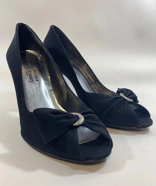 Stuart Weitzman For Russell & Bromley Black Satin Peep Toe Stiletto Court Shoe Size UK 5.5 EU 38.5 US 7.5