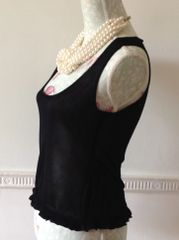Press & Bastyan Vest Top Black Fitted Cropped Frilled Hem Size 2 UK 10