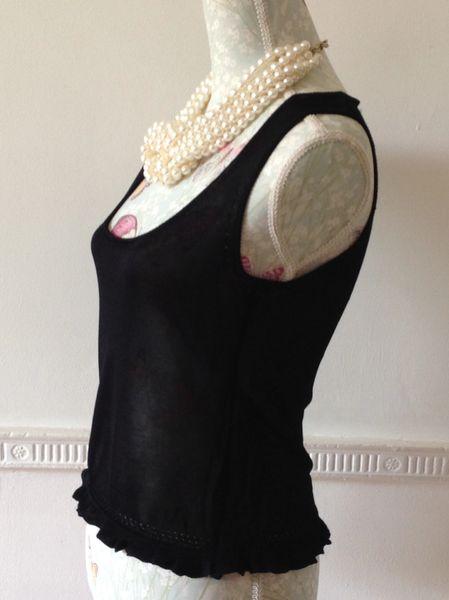 Press & Bastyan Vest Top Black Fitted Cropped Frilled Hem Size 2 UK 10