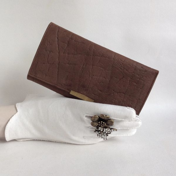 Vintage 1960s Textured Leather Mid Brown Coin Purse Wallet With Fabric Suede Lining