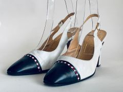 "Simpson Piccadilly Vintage White & Blue Leather Sling Back Shoe 3.5"" Heel UK 4.5 Size UK 4.5AA, US 6.5, EU 37.5"
