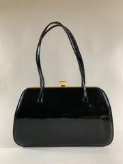 HOLMES 1960s Black Synthetic Patent Vintage Handbag Fabric Lining Elbief Frame