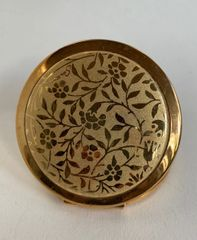 Stratton Vintage 1980s Floral Etched Plated Gold Toned Double Sided Handbag Mirror