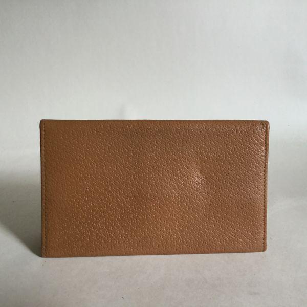 Vintage 1950s Gentleman's pig Skin Leather Note & Stamp Wallet In Tan