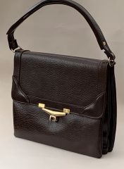 Chamelle Vintage 1970s Brown Faux Leather Handbag Shoulder Bag Fabric Lining.
