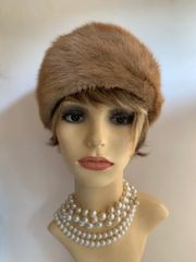 "Vintage 1950s Light Brown Camel Cossack Style Real Fur Fully Lined 20"" Hat"