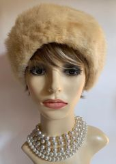 "Vintage 1950s Ivory Cossack Style Real Fur Fully Lined 22"" Hat"