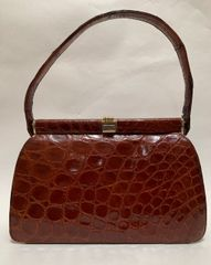 Whiskey Brown Crocodile 1950s Vintage Handbag Brown Leather Lining Vanity Mirror